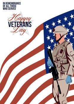 Modern American Veteran Soldier Greeting Card