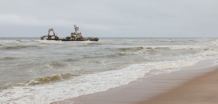 Zeila Shipwreck stranded on 25th August 2008 near Henties Bay on the Skeleton Coast in Namibia