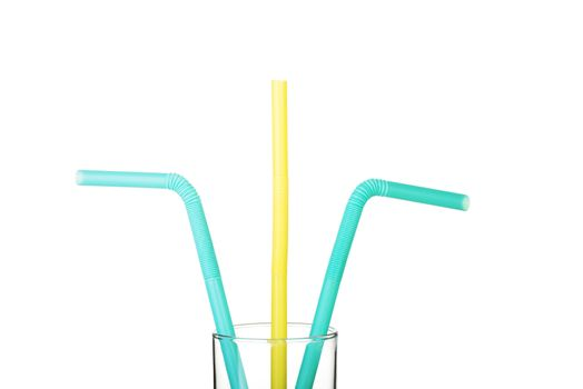 Colorful straws. Vertical view. Isolated on white.