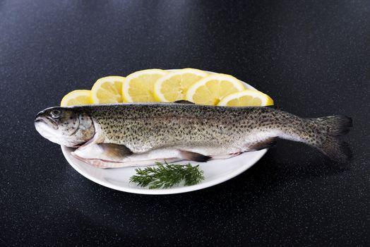 Fresh raw fish lying on a plate.
