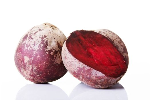 Beetroots fresh, red and raw. Isolated on white.