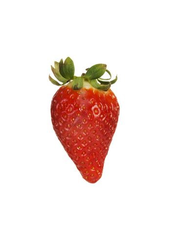 One separated fresh strawberry. Isolated on white.