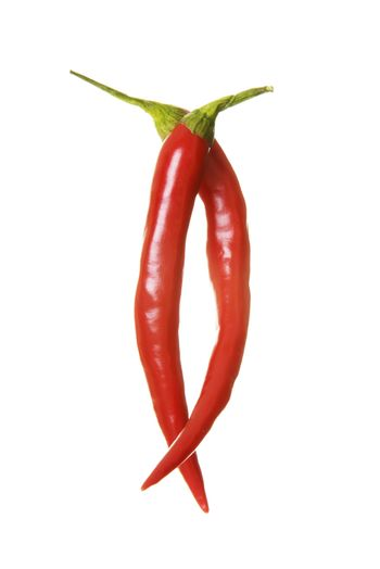 Two red chili peppers.
