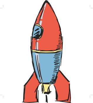 hand drawn, sketch, cartoon illustration of rocket