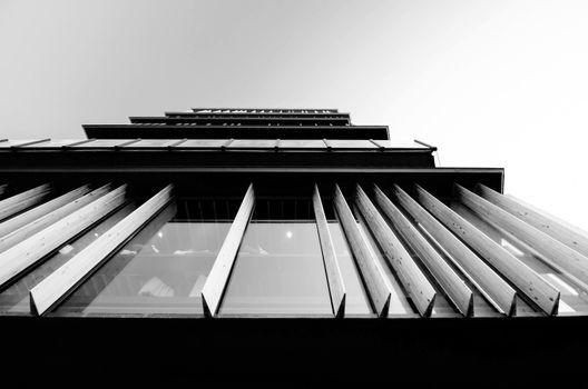Bottom view of a modern building facade
