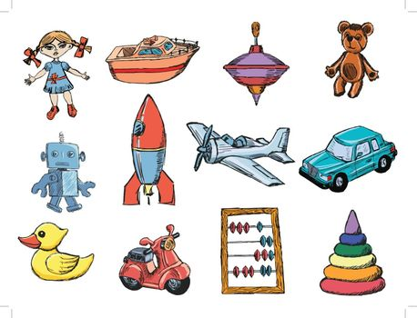 set of sketch illustrations of the toys