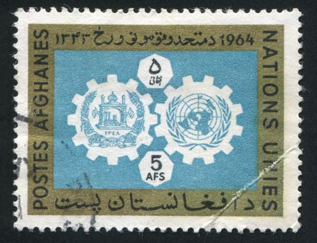 Coat of arms of Afghanistan and UN Emblem