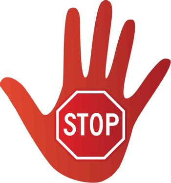 A stop sign inside the palm of a hand