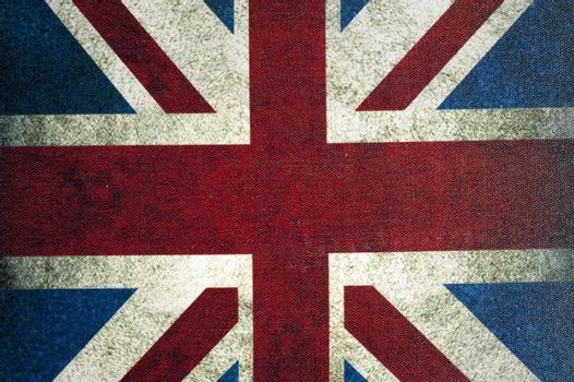 A United Kingdom flag painted on a fabric texture