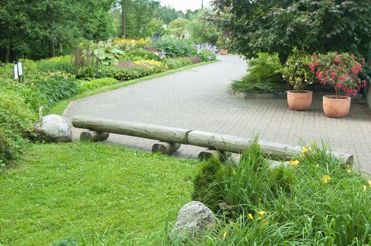 Park with plants and flowers, landscape design