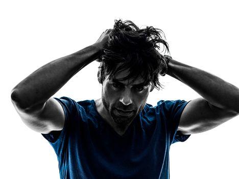 stubble man headache hangover despair  portrait  silhouette