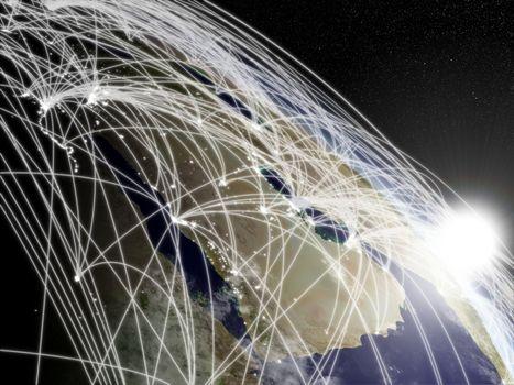 Sunrise over Arabian peninsula with network