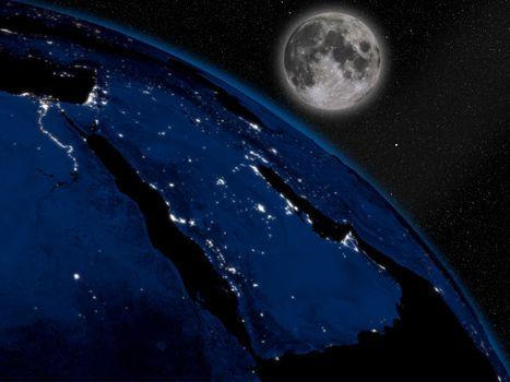 Arabian peninsula at night from space