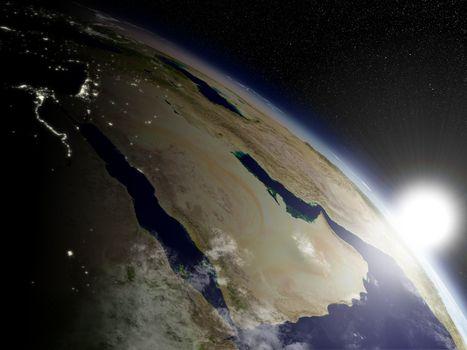 Sunrise over Arabian peninsula