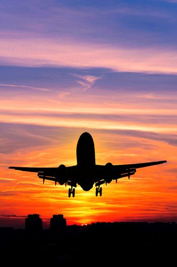 Plane and sunset