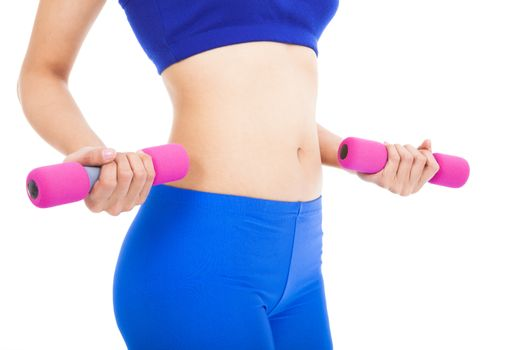 Woman's body part with fitness dumbell