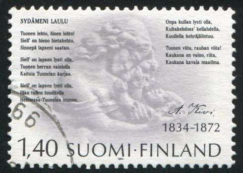 FINLAND - CIRCA 1984: stamp printed by Finland, shows Poet Aleksis Kivi, poem and relief, circa 1984