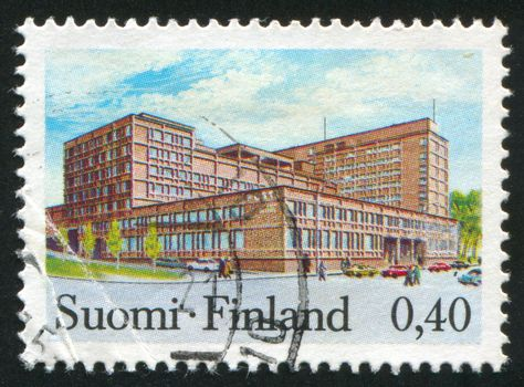 FINLAND - CIRCA 1973: stamp printed by Finland, shows Post Office in Tampere, circa 1973