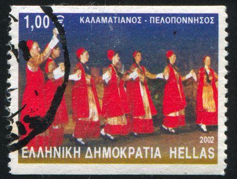 GREECE - CIRCA 2002: stamp printed by Greece, shows Kalamatianos dance, circa 2002