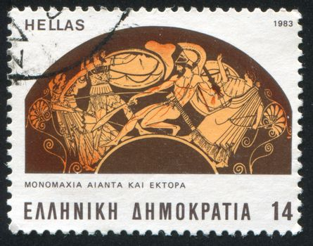 GREECE - CIRCA 1983: stamp printed by Greece, shows single handed battle between Ajax and Hector, circa 1983
