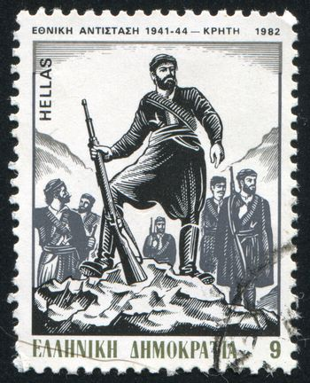 GREECE - CIRCA 1982: stamp printed by Greece, shows the start of resistance in Crete, by P. Gravalos, circa 1982