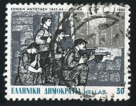 GREECE - CIRCA 1982: stamp printed by Greece, shows fighters at a barricade, by G. Sikeliotis, circa 1982
