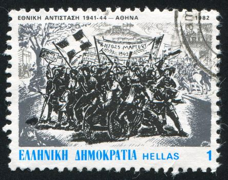 GREECE - CIRCA 1982: stamp printed by Greece, shows Demonstration of March 24, 1942, circa 1982
