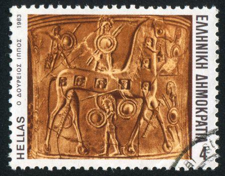 GREECE - CIRCA 1983: stamp printed by Greece, shows the wooden horse, circa 1983