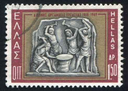 GREECE - CIRCA 1969: stamp printed by Greece, shows Hephaestus and Cyclops, relief, circa 1969