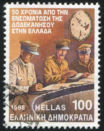 GREECE - CIRCA 1998: stamp printed by Greece, shows Incorporation of the Dodecanese islands into Greece, circa 1998