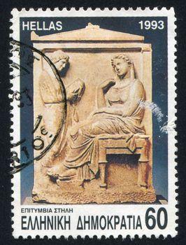 GREECE - CIRCA 1993: stamp printed by Greece, shows City of Rhodes, headstone, circa 1993