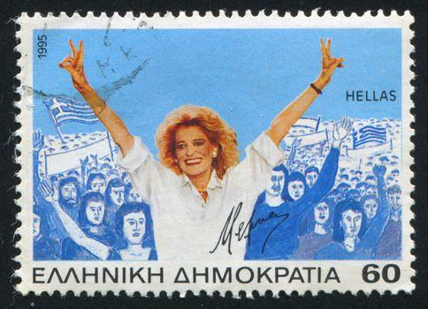 GREECE - CIRCA 1995: stamp printed by Greece, shows Melina Mercouri, actress, politician, circa 1995