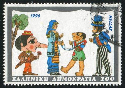 GREECE - CIRCA 1996: stamp printed by Greece, shows figures of Shadow theater, circa 1996