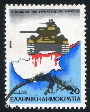 GREECE - CIRCA 1984: stamp printed by Greece, shows tank and map, circa 1984