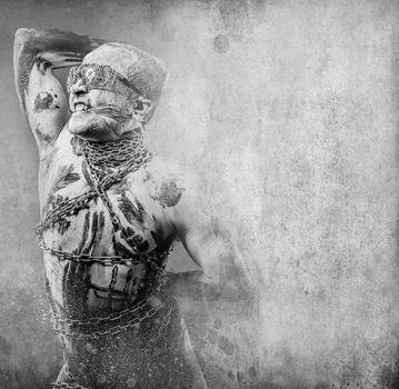 Punishment, Slave concept, man bound, chains, prison