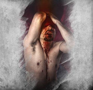 Male model, evil, blind, fallen angel of death
