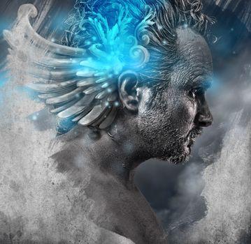 Heroe, mythology, Man with black shapes, studio portrait