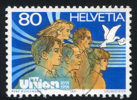SWITZERLAND - CIRCA 1991: stamp printed by Switzerland, shows Group of People, circa 1991