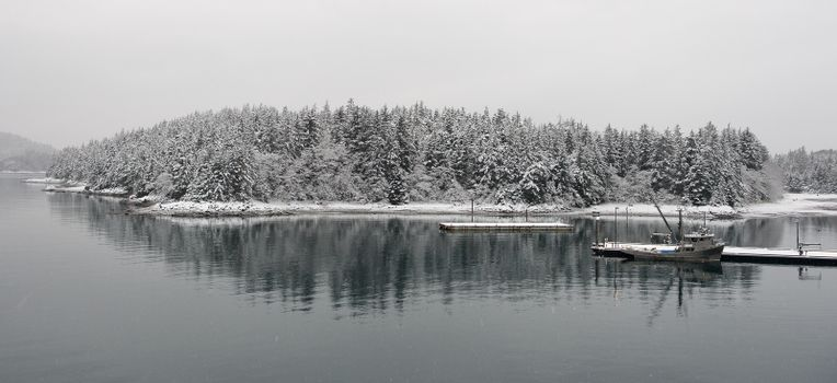 Fishing boat in winter.