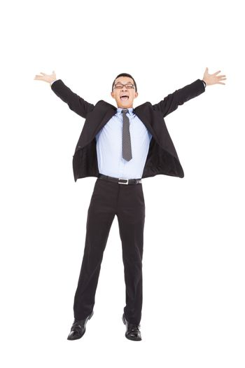 businessman feel happy to raise his hands and  jumping