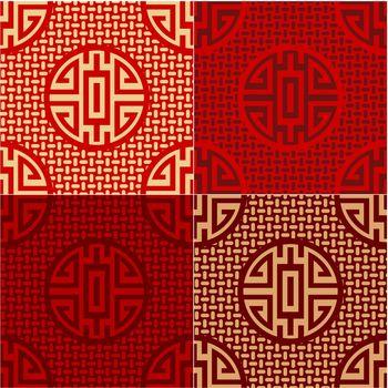seamless chinese character cai - money, commodities pattern