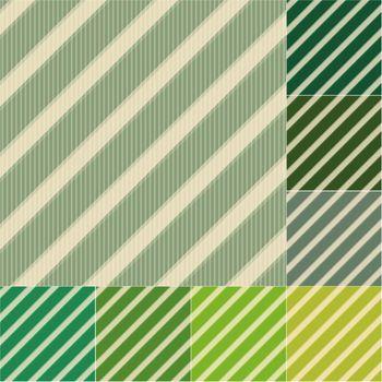 seamless green stripes background set