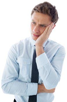 Upset thinking businessman