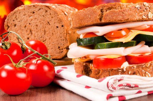 Dark bread sandwich