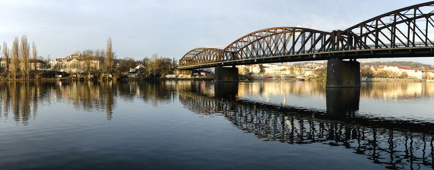 Panorama of bridges on the Vltava