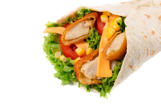 Chicken wrap isolated