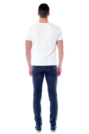 Back pose of young man