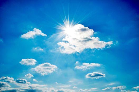 Dramatic sun  and sky