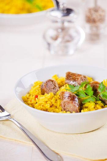 Sausages And Curry Rice