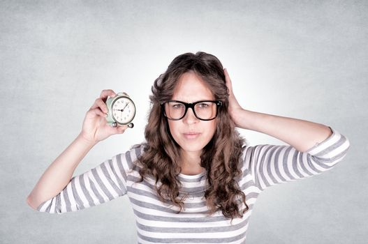 Female with clock